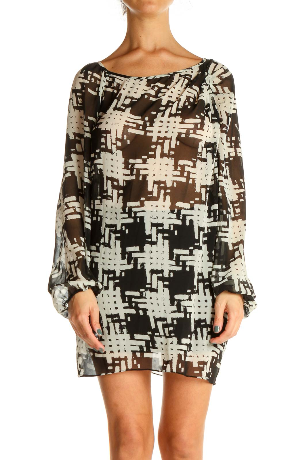 Beige Geometric Print Day Sheath Dress Front
