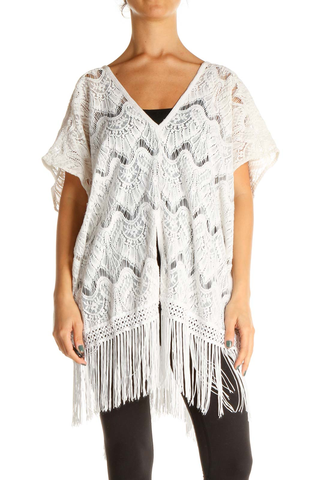 White Bohemian Swim Cover-up Front