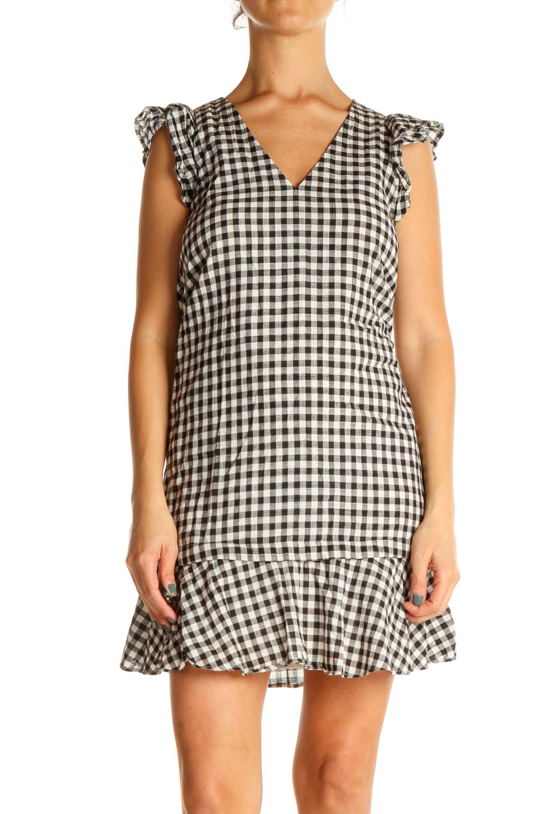 Black and White Gingham Sheath Dress Front