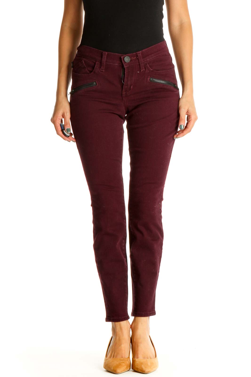 Red Solid All Day Wear Skinny Pants Front