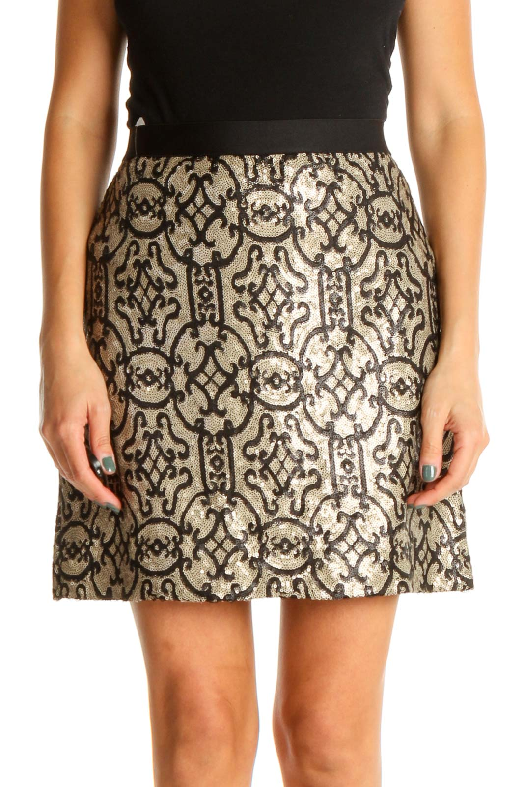 Beige Sequin Chic A-Line Skirt Front