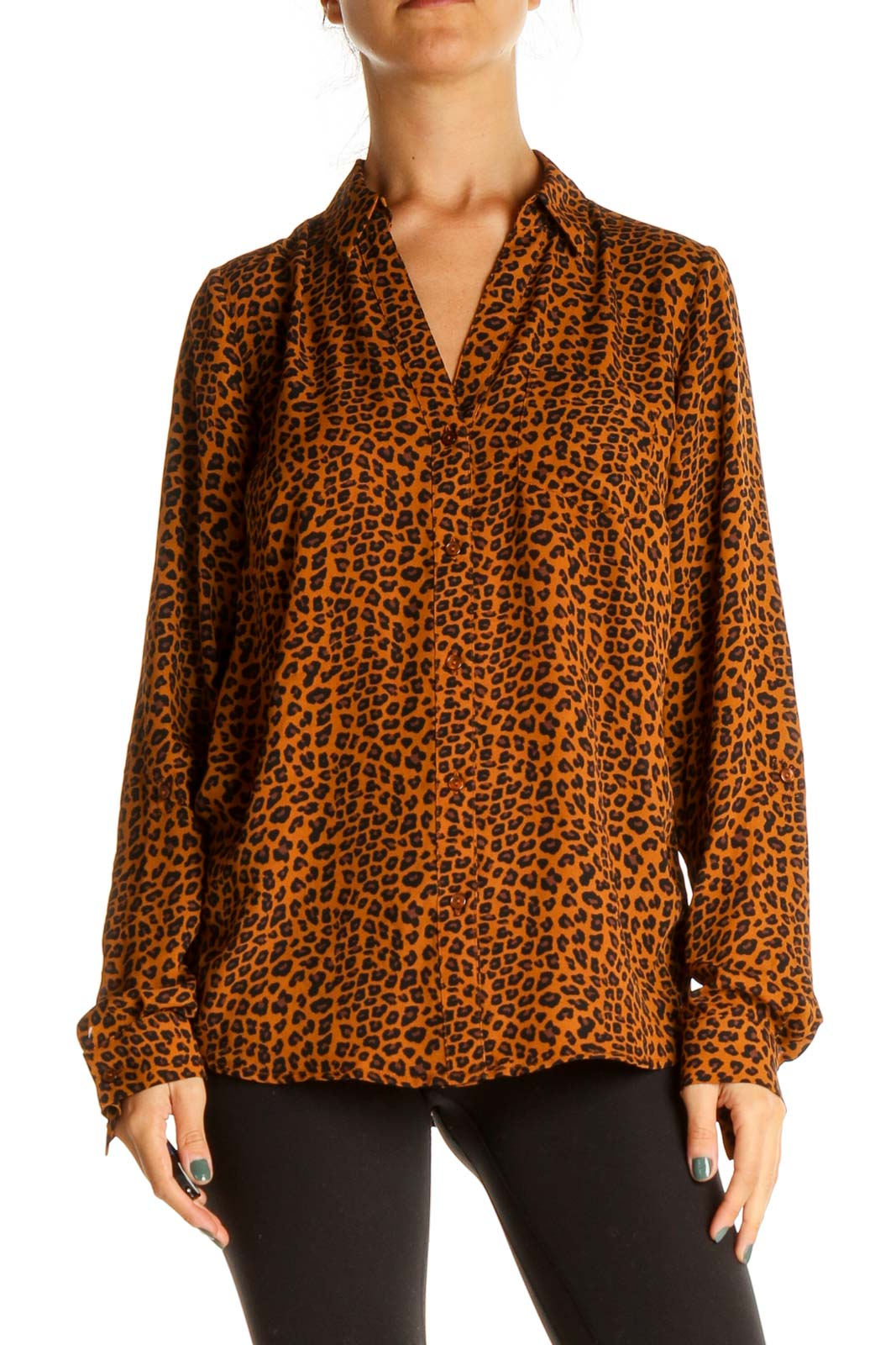 Brown Animal Print All Day Wear Shirt Front
