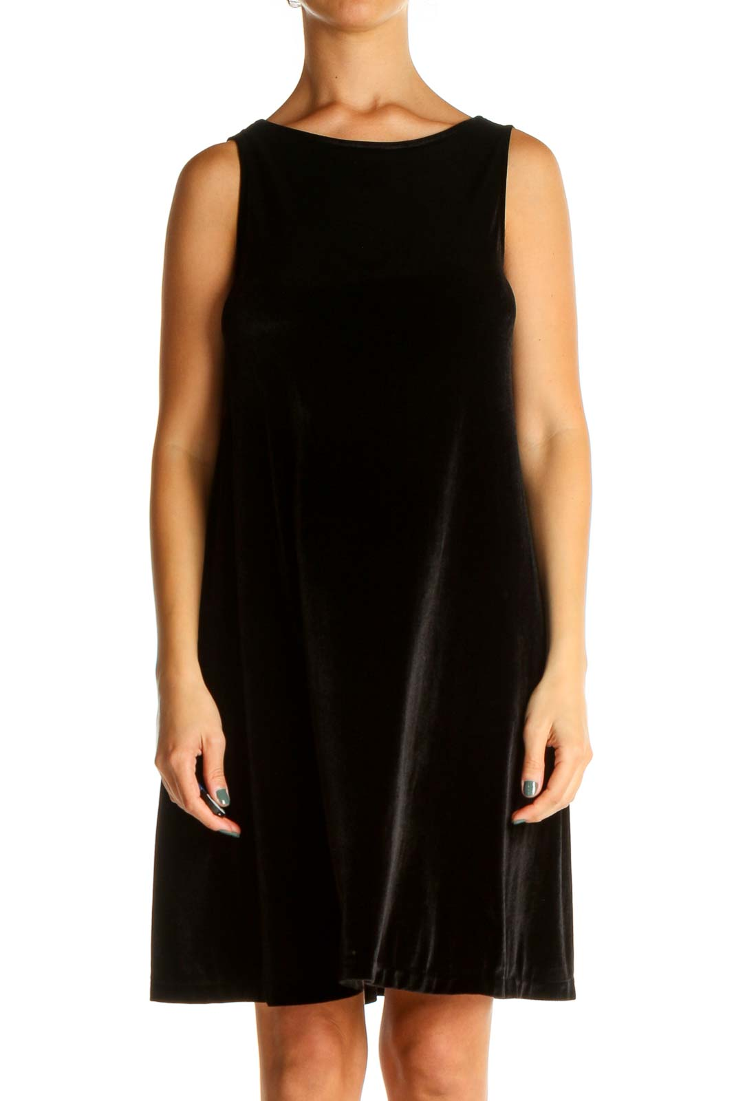 Black Solid Velvet Classic A-Line Dress Front