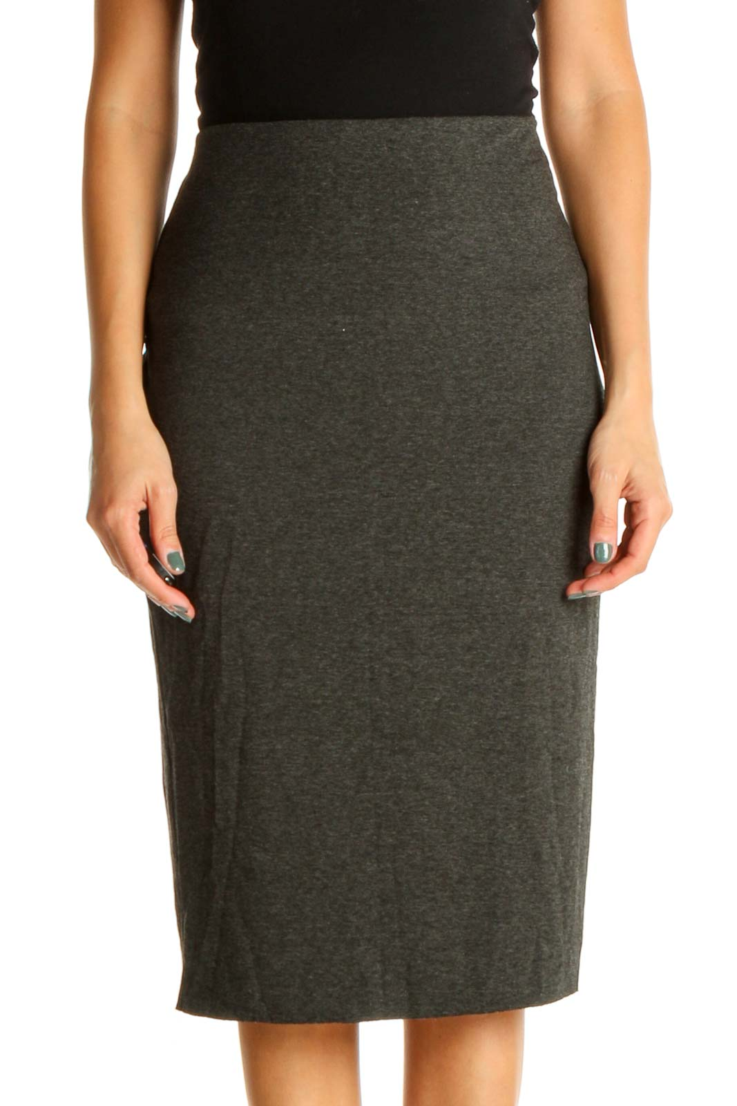 Gray Classic Pencil Skirt Front
