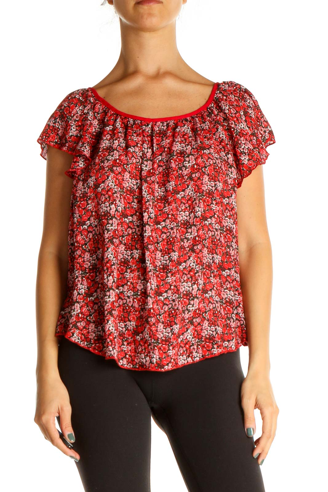 Red Floral Print All Day Wear Blouse Front