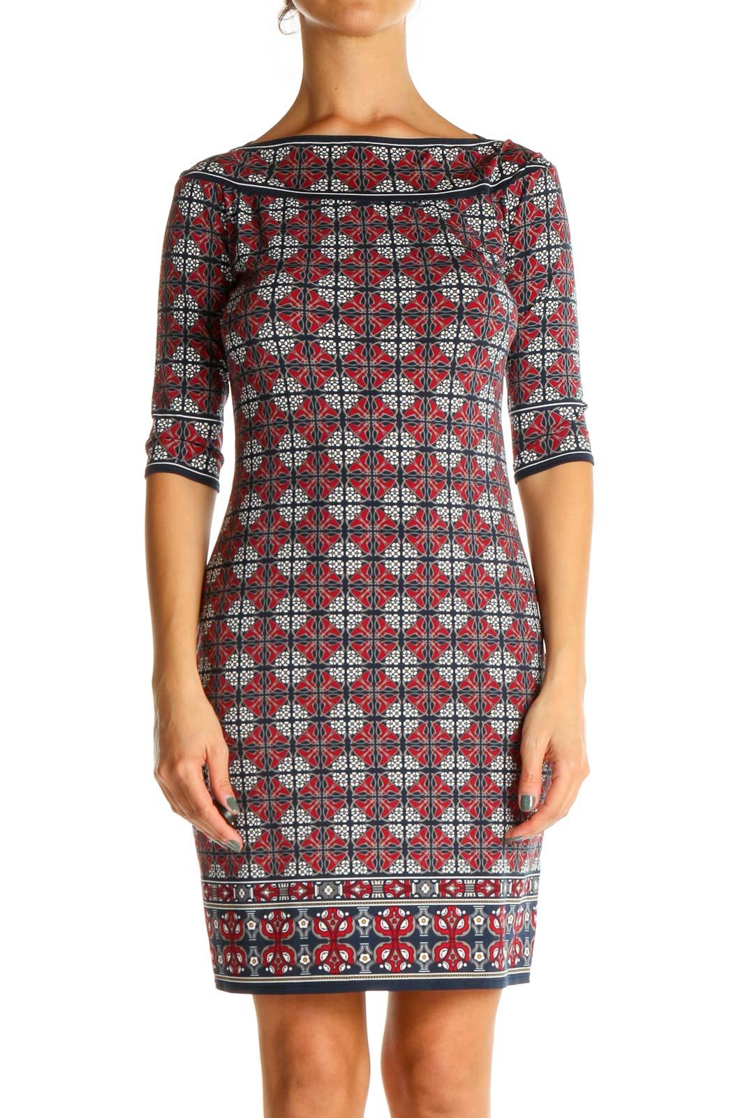 Red Geometric Print Sheath Dress Front