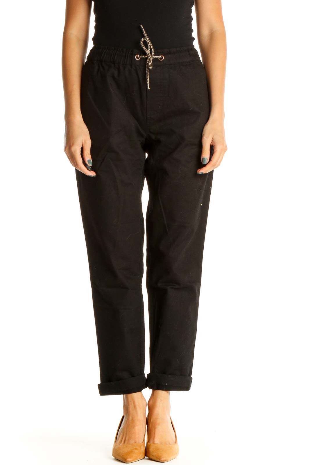 Black Solid Casual Cargos Pants Front