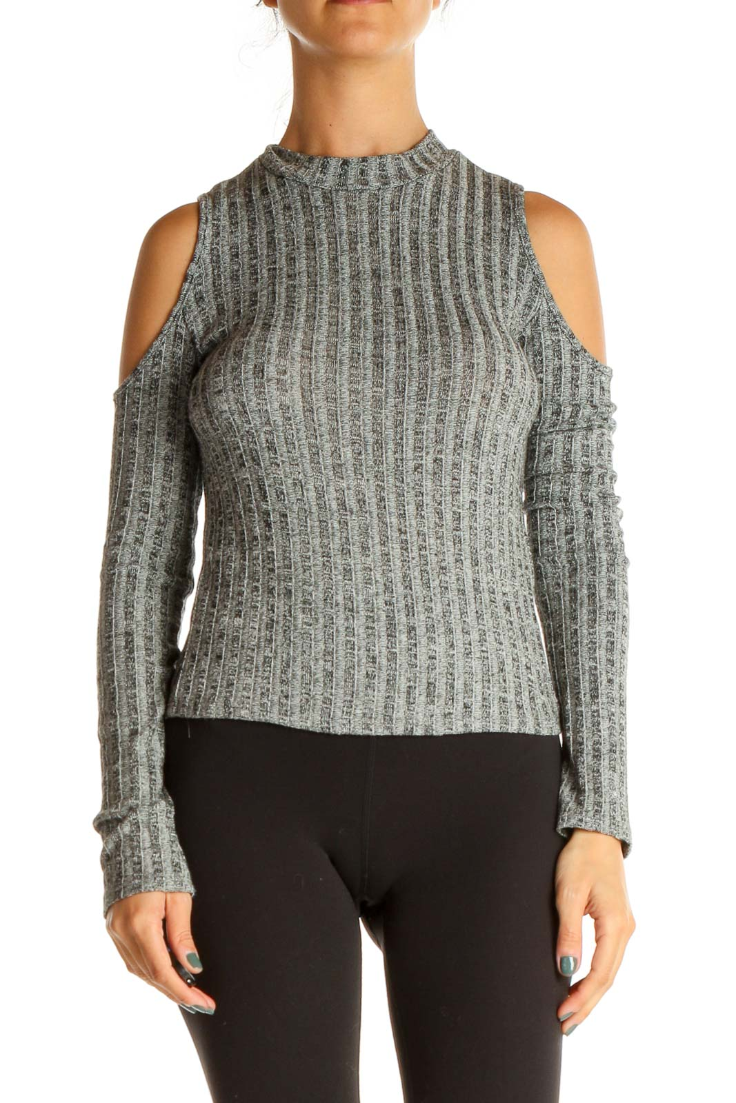 Gray Textured Casual Top Front