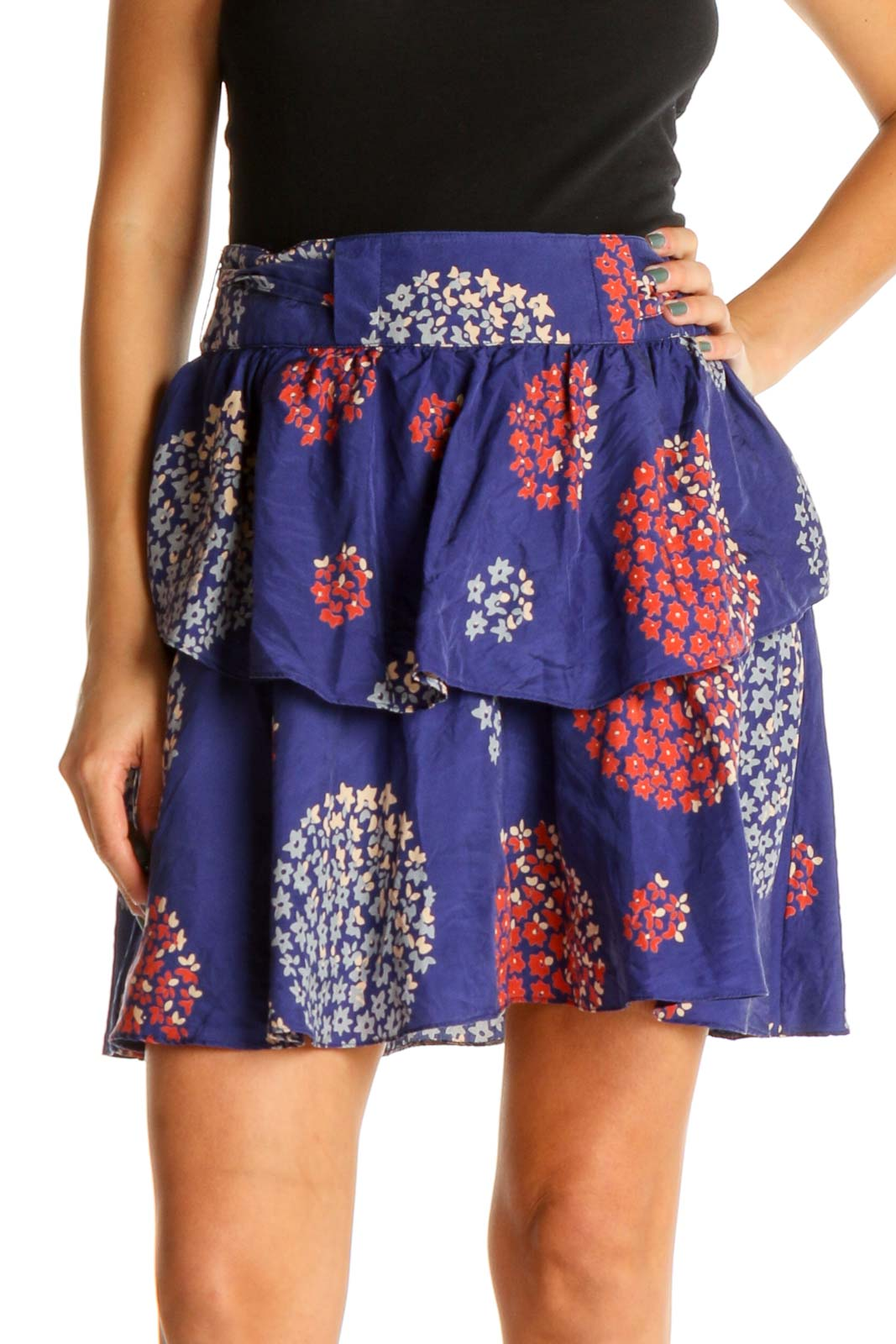 Blue Floral Print Holiday Flared Skirt Front