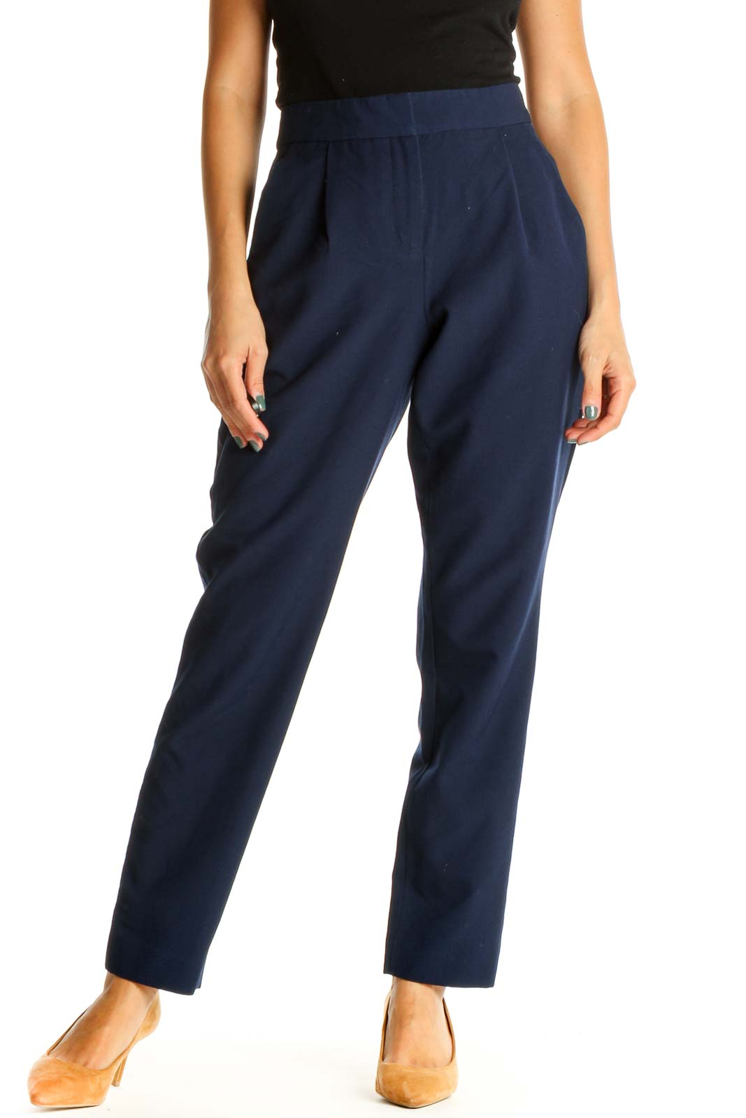 Blue Solid Classic Trousers Front