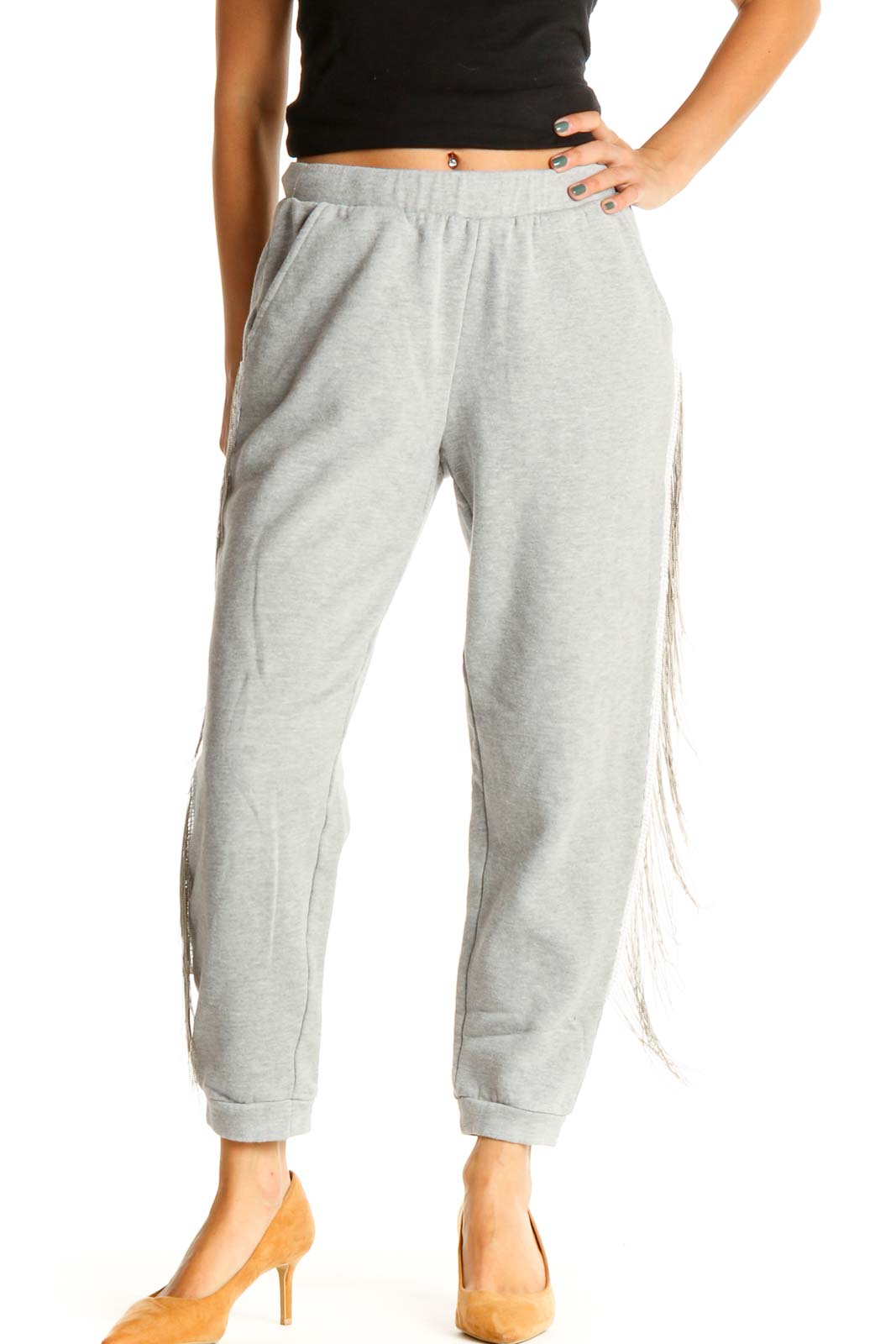 Gray Bedazzled All Day Wear Sweatpants Front