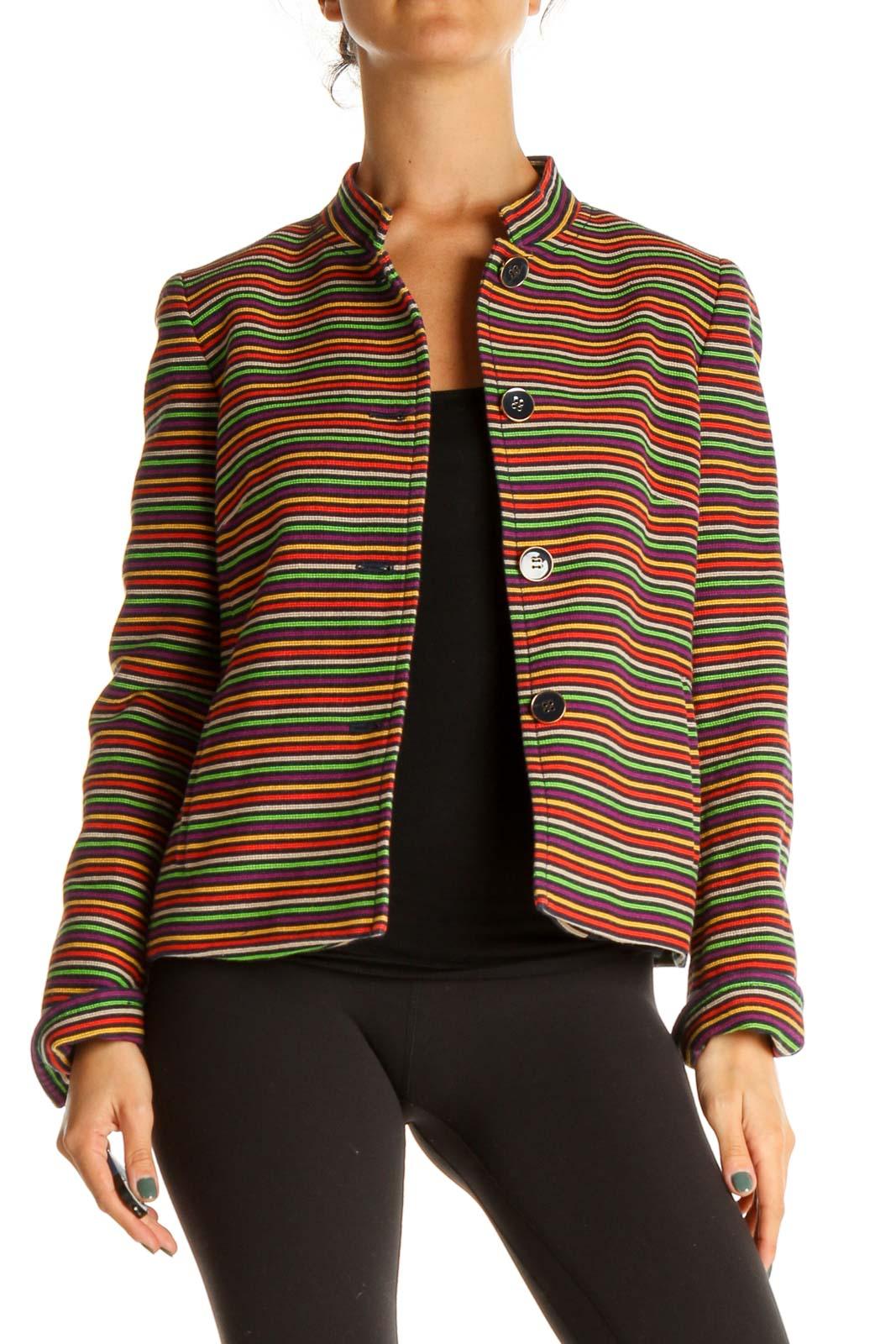 Orange Striped Jacket Front
