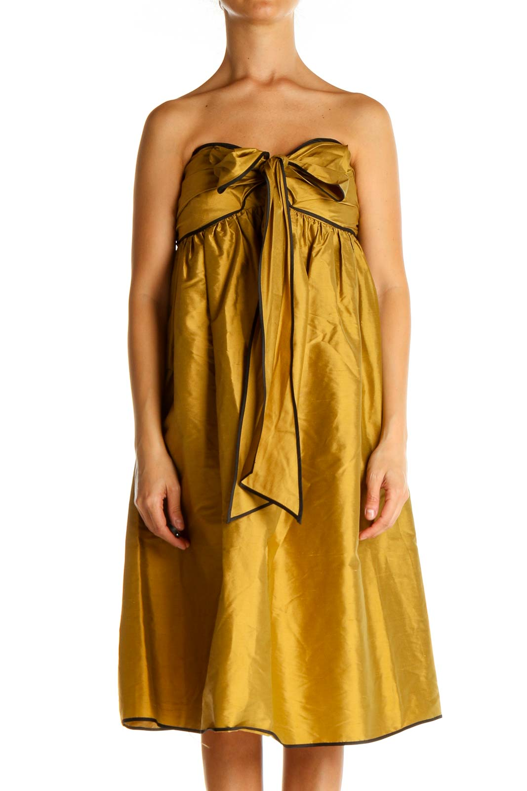 Gold Semi-Formal Fit & Flare Dress Front