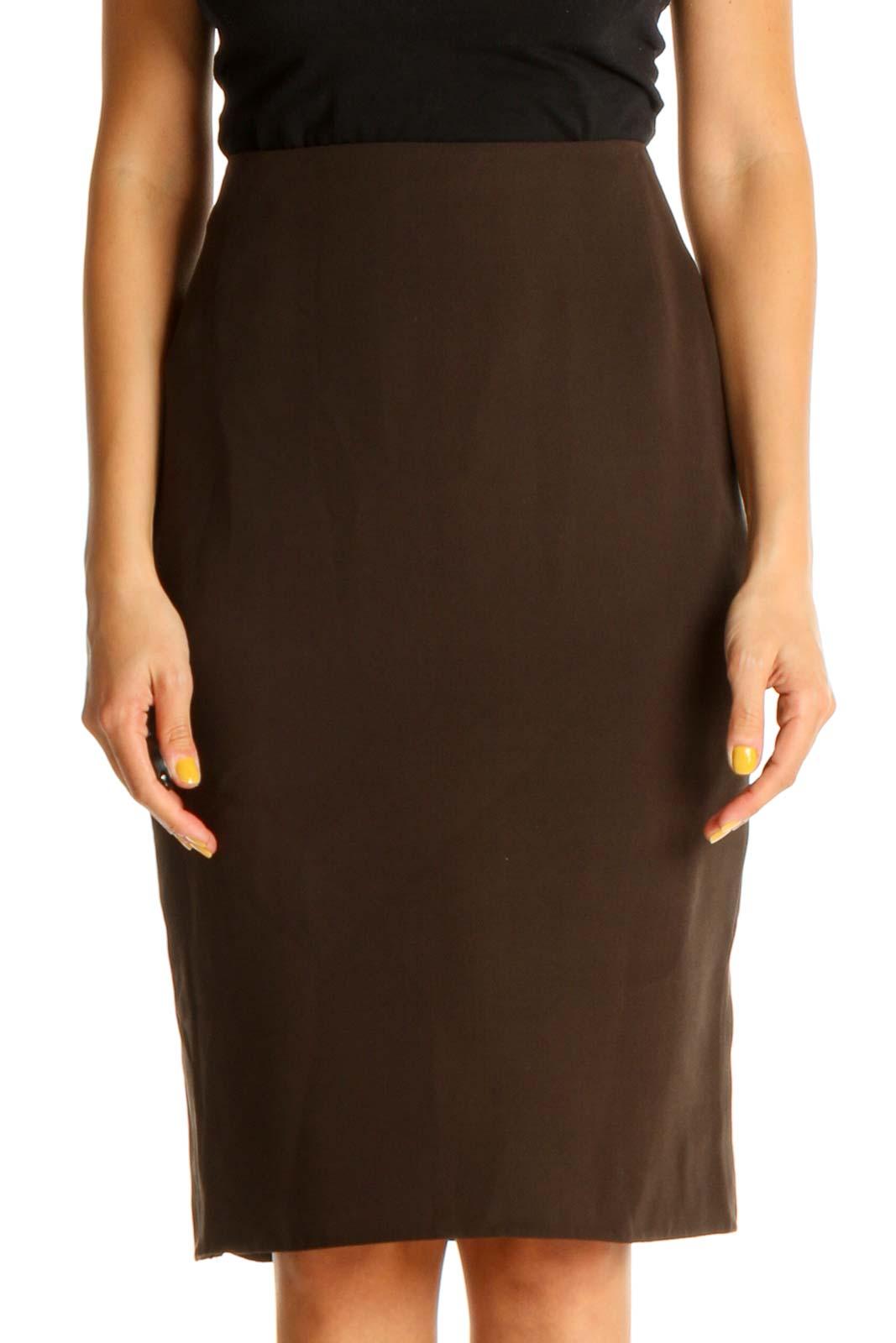 Brown Solid Brunch Pencil Skirt Front