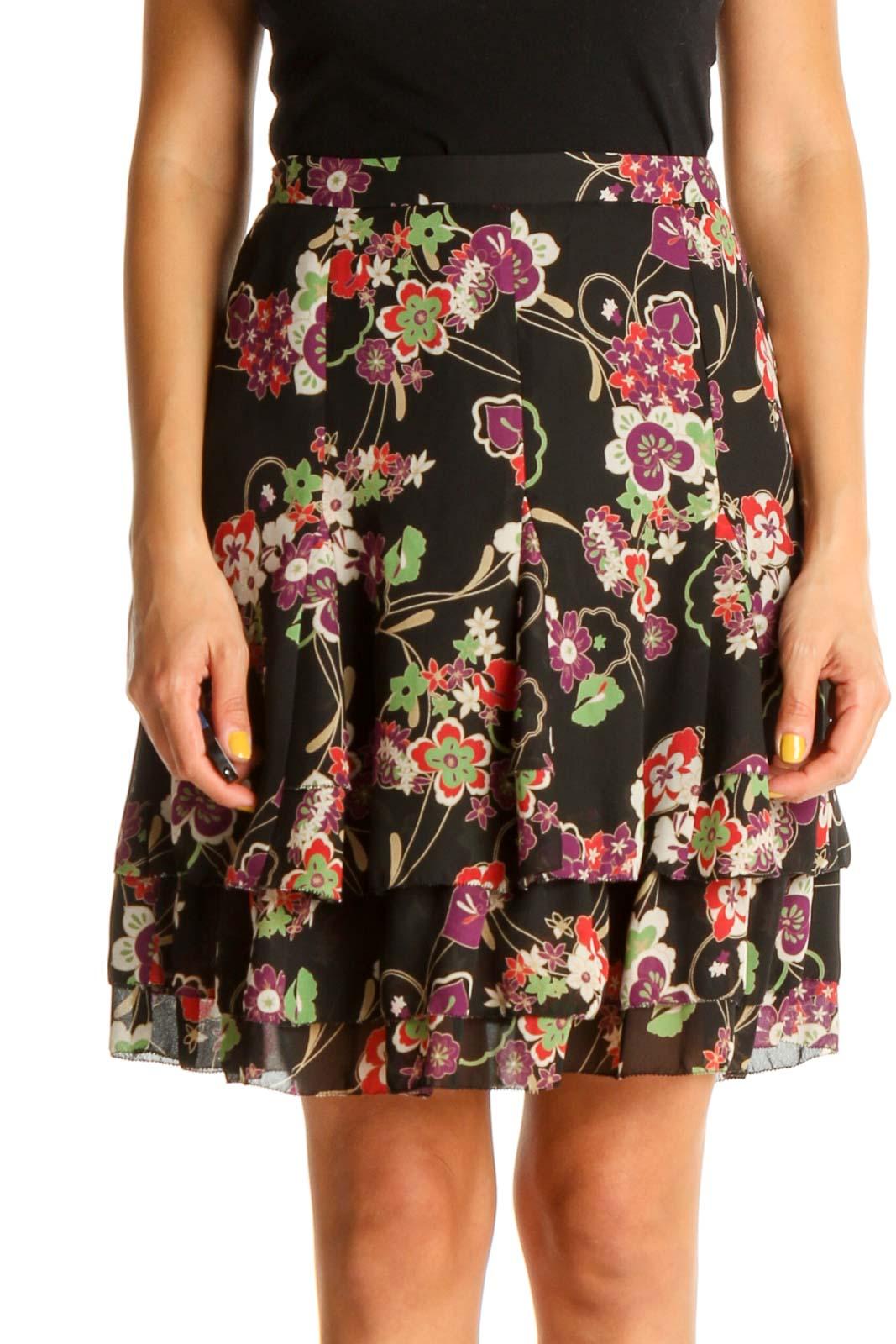 Black Floral Print Brunch A-Line Skirt Front
