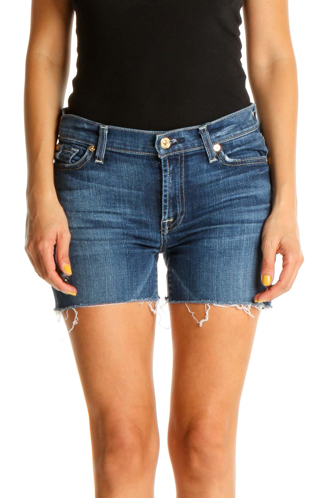 Blue Solid All Day Wear Denim Shorts Front