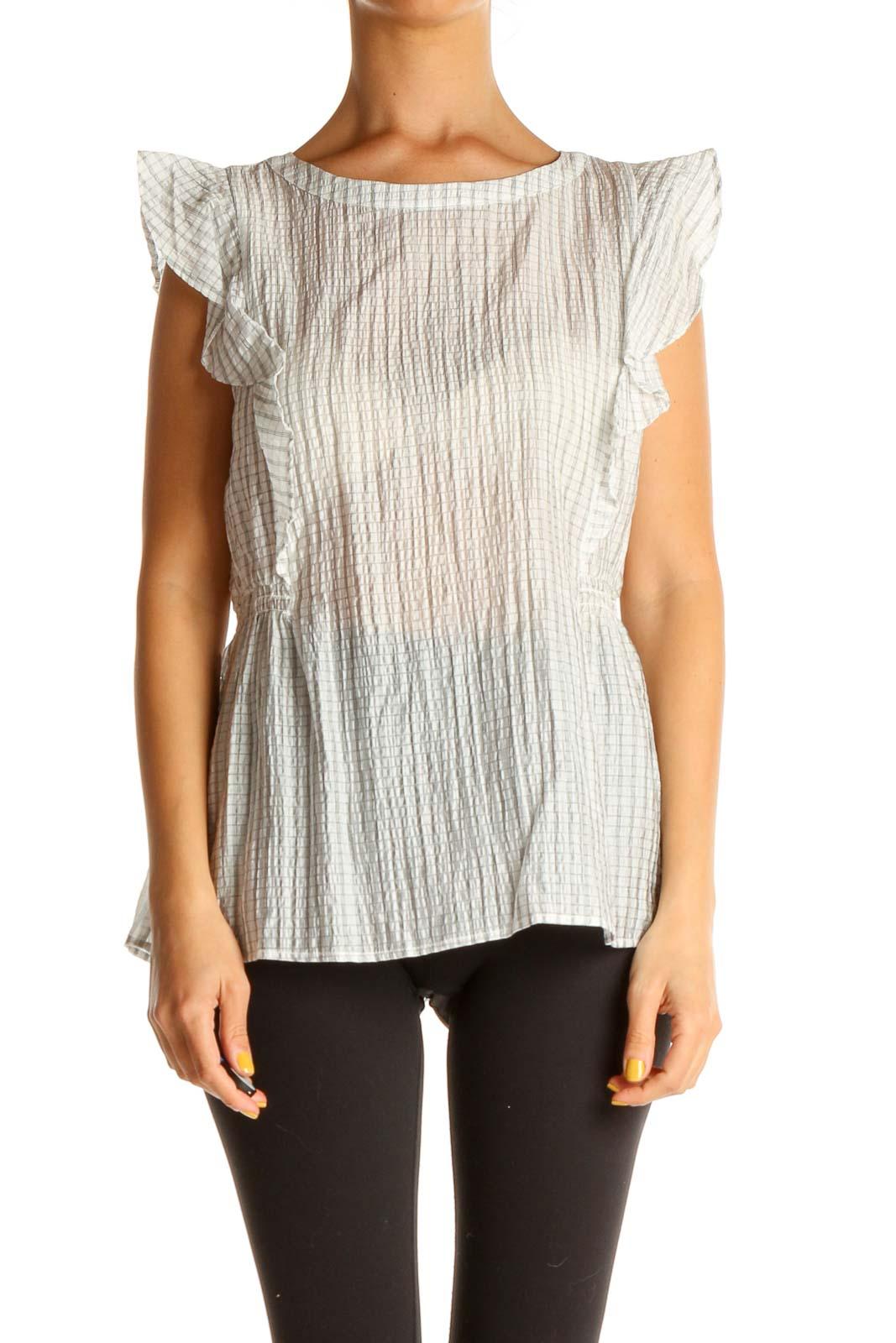 Gray Striped Retro Blouse Front