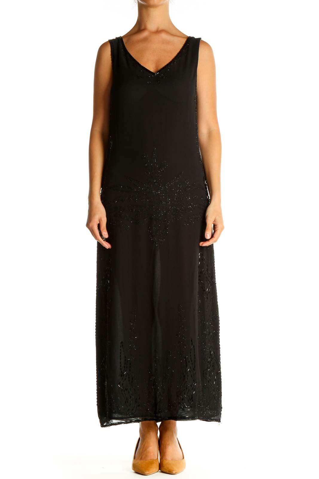 Black Sequin Column Dress Front