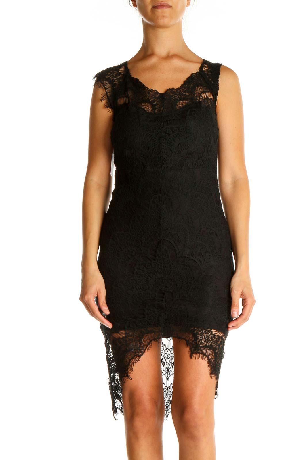 Black Lace Classic Sheath Dress Front