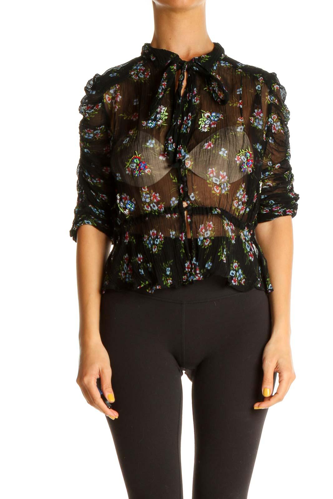 Black Floral Print Bohemian Blouse Front
