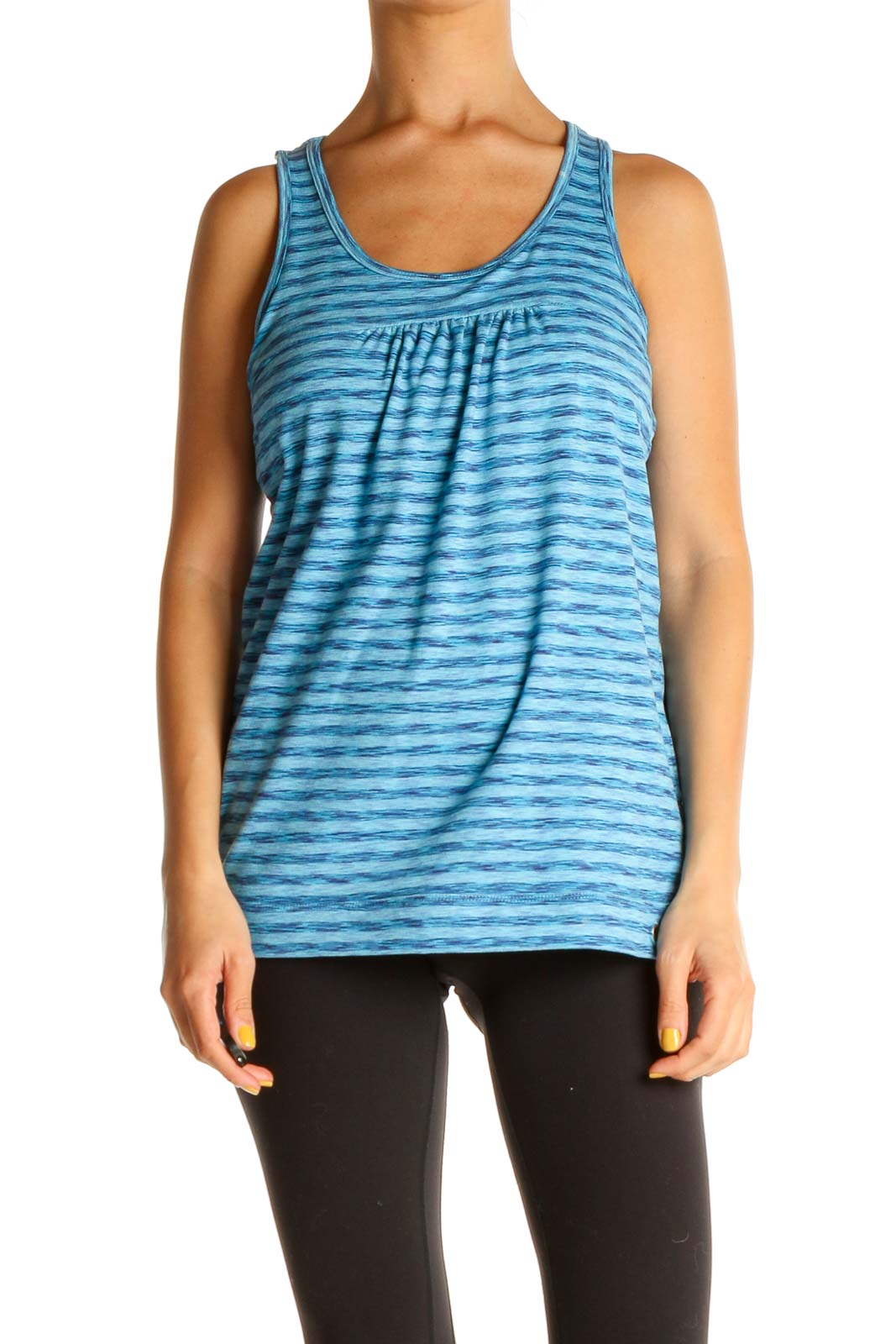 Blue Striped Activewear Tank Top Front