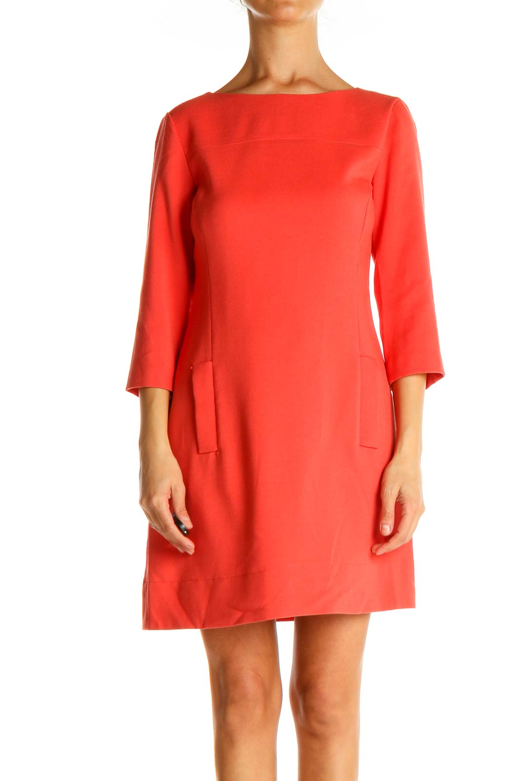 Red Solid Classic Fit & Flare Dress Front