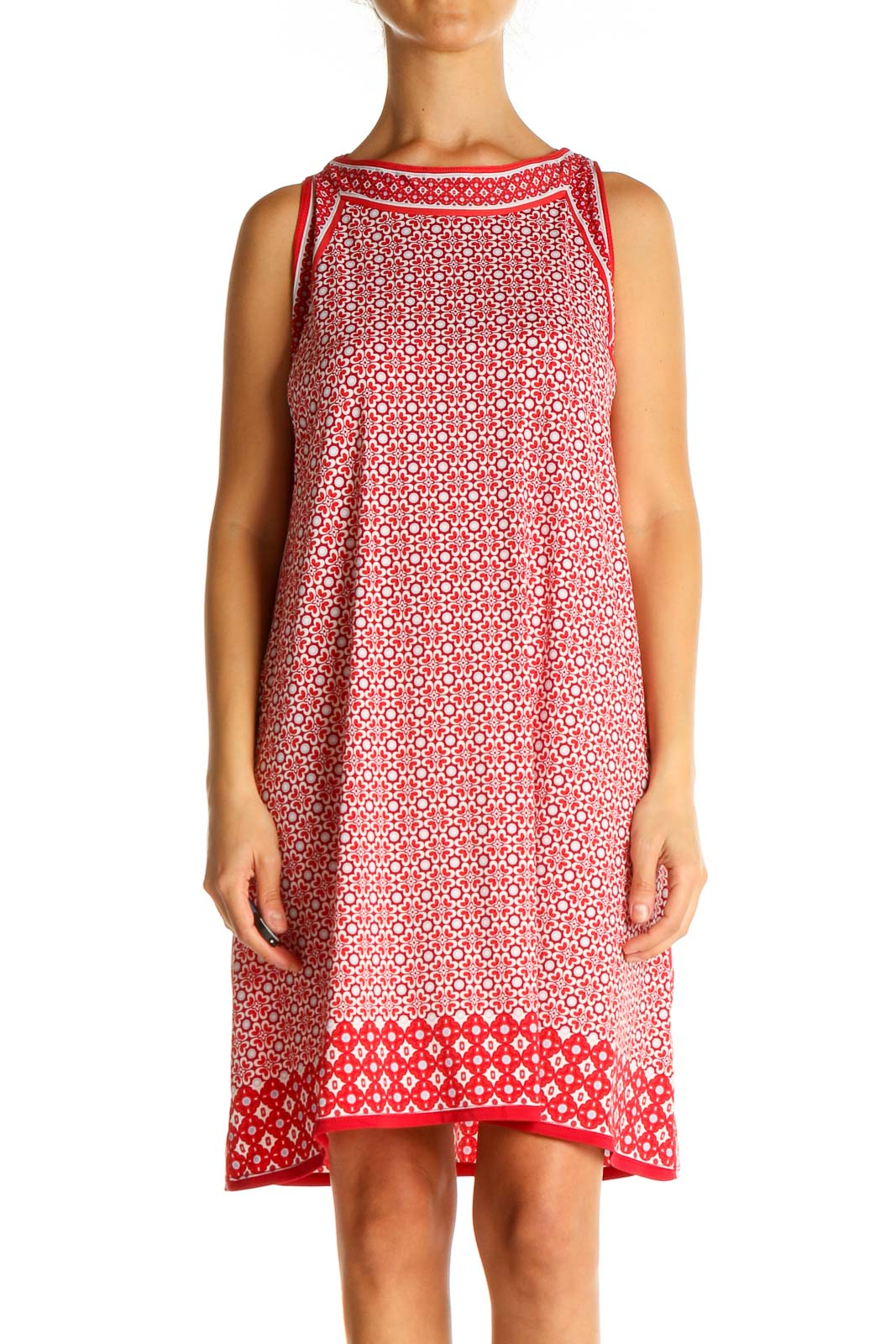 Red Geometric Print Casual A-Line Dress Front