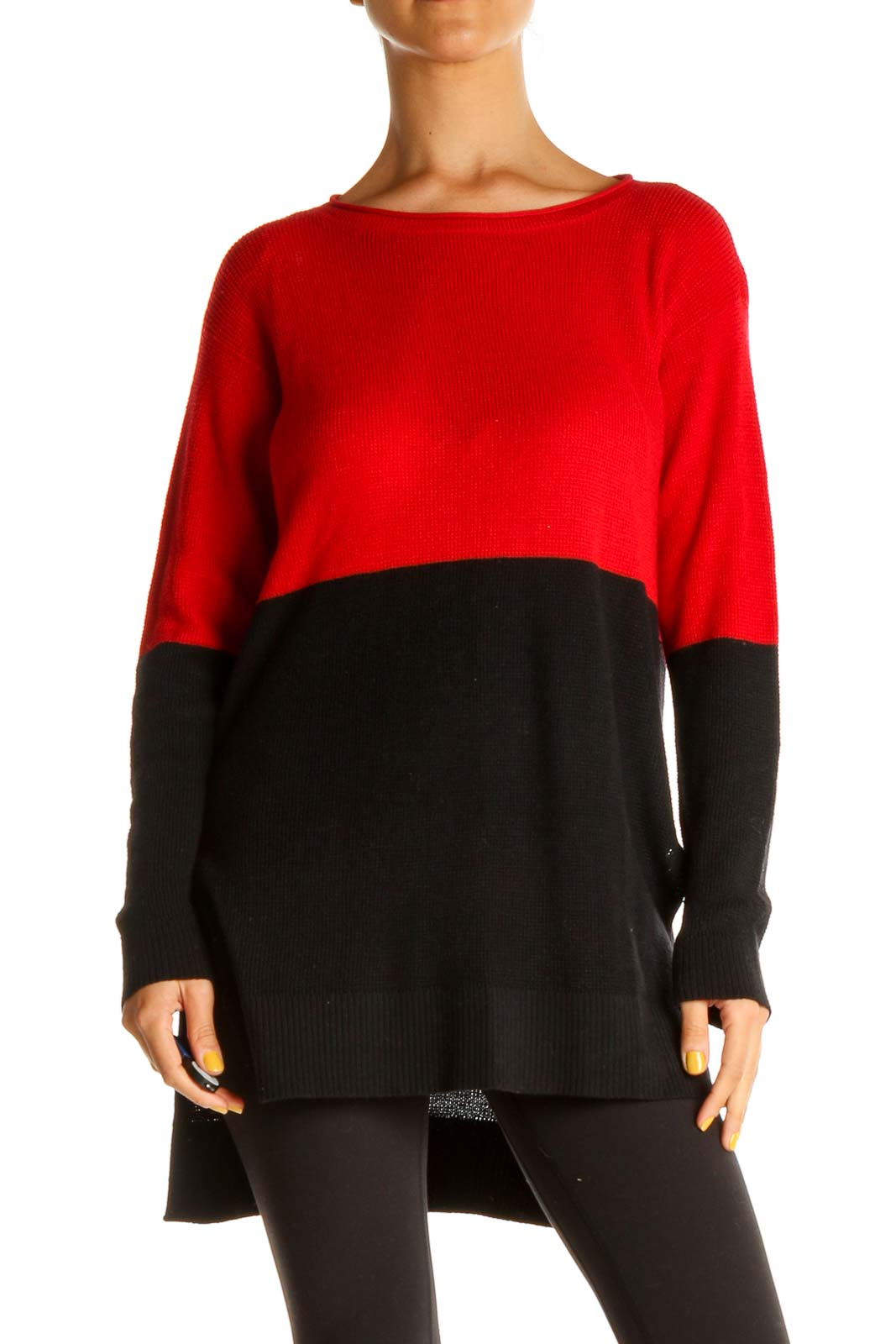 Black Colorblock Classic Sweater Front