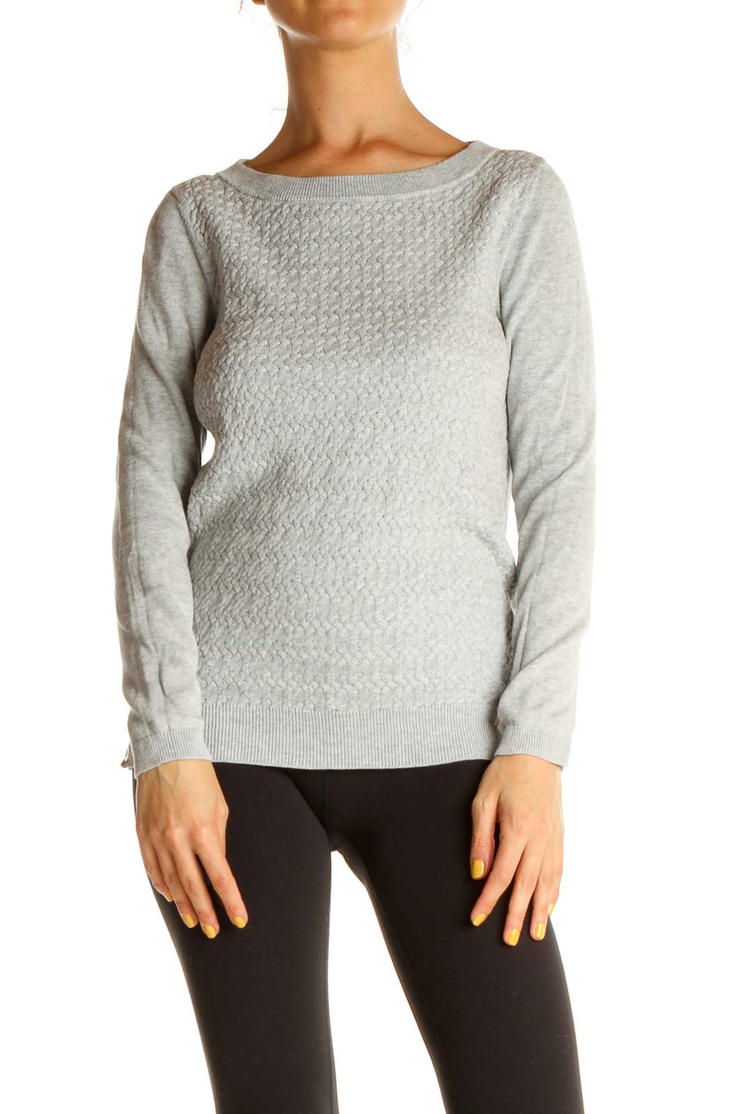 Gray Textured Classic Sweater Front