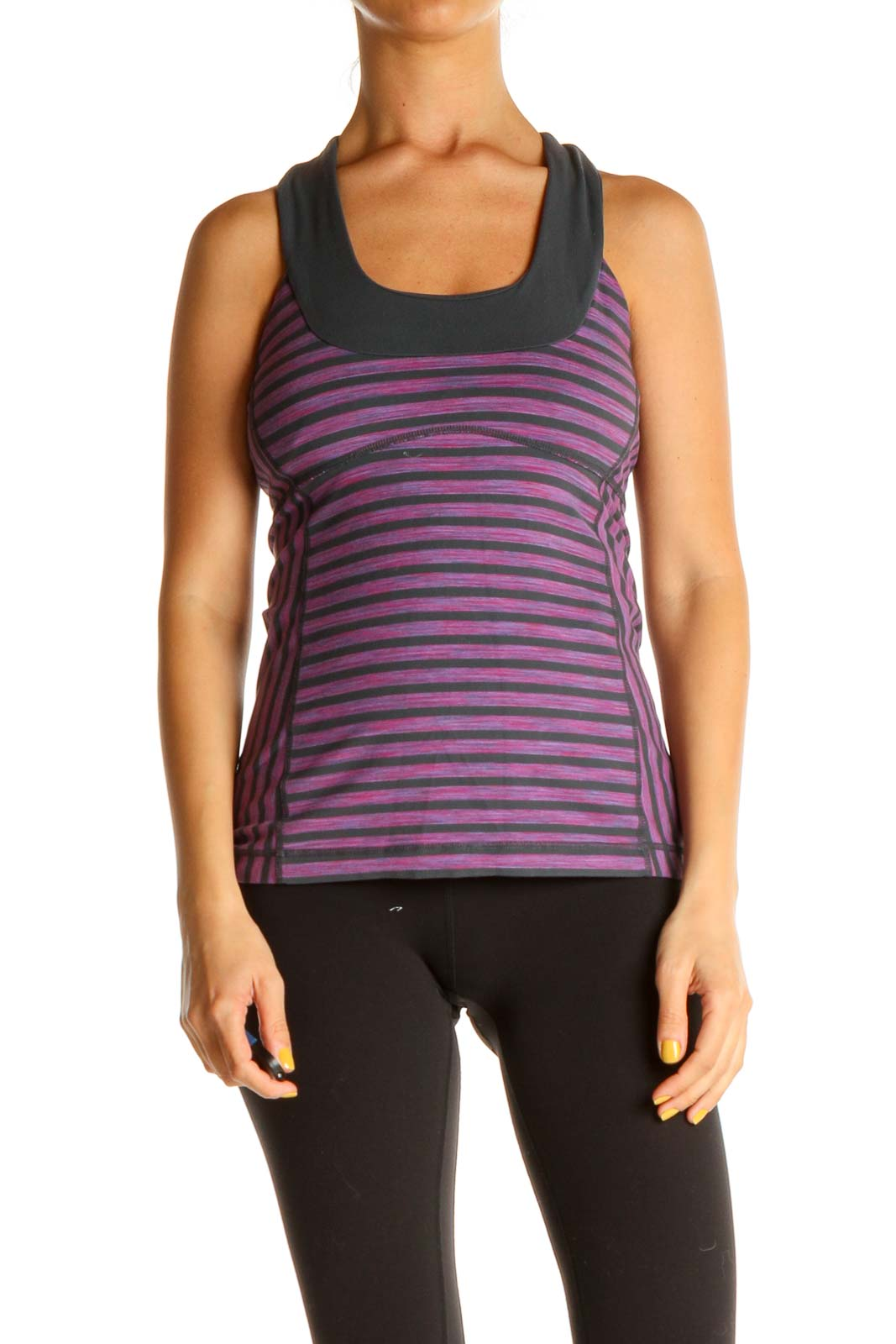 Purple Striped Activewear Tank Top Front