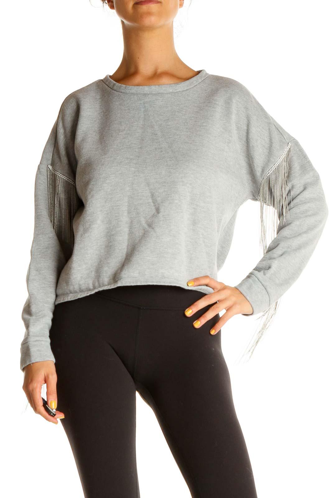 Gray Bedazzled Sweatshirt Front