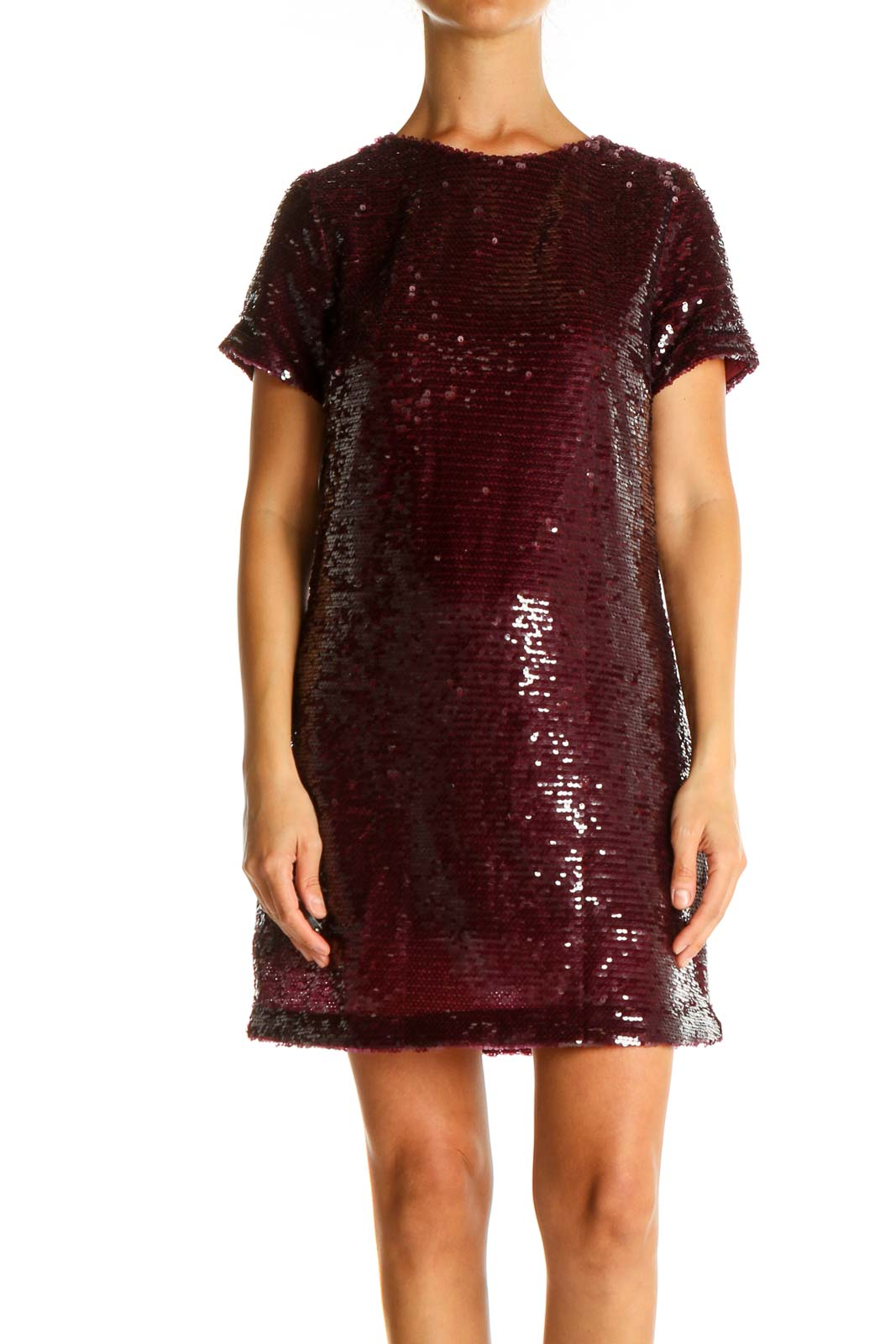 Red Sequin Cocktail Shift Dress Front