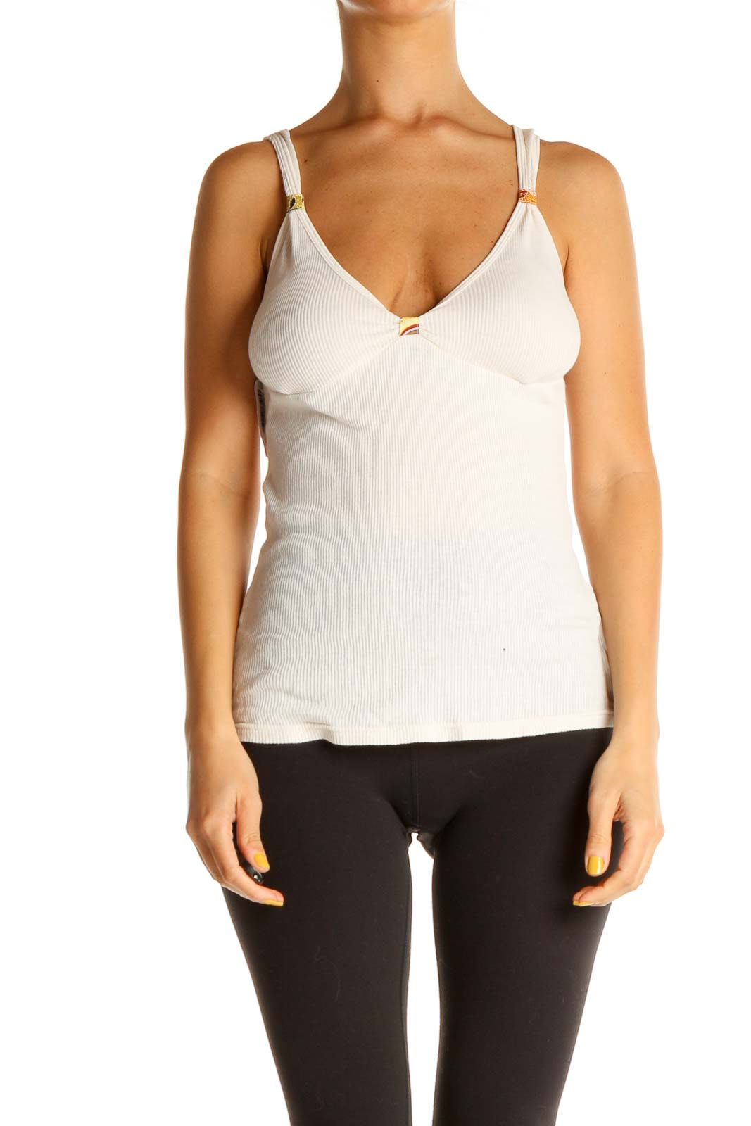 Beige Solid Casual Top Front