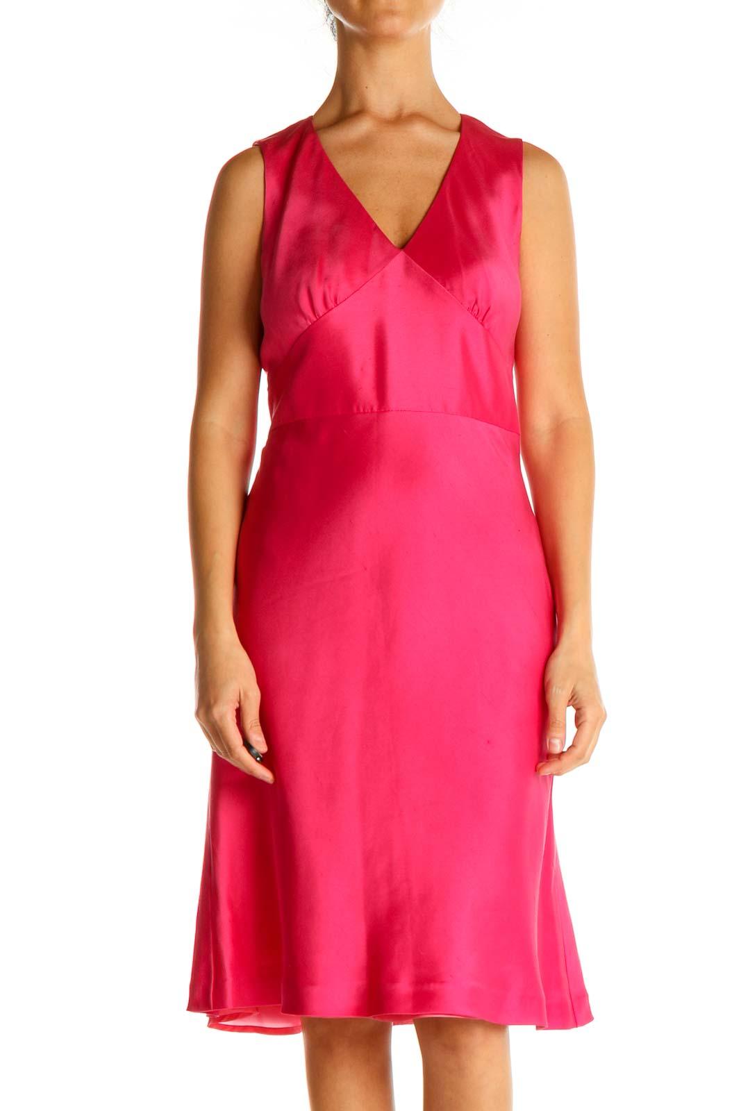 Pink Solid Silk Sheath Dress Front