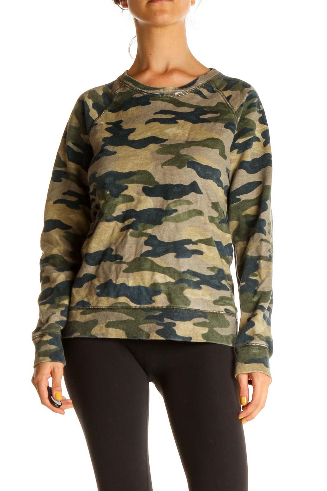 Green Camouflage Print Sweatshirt Front