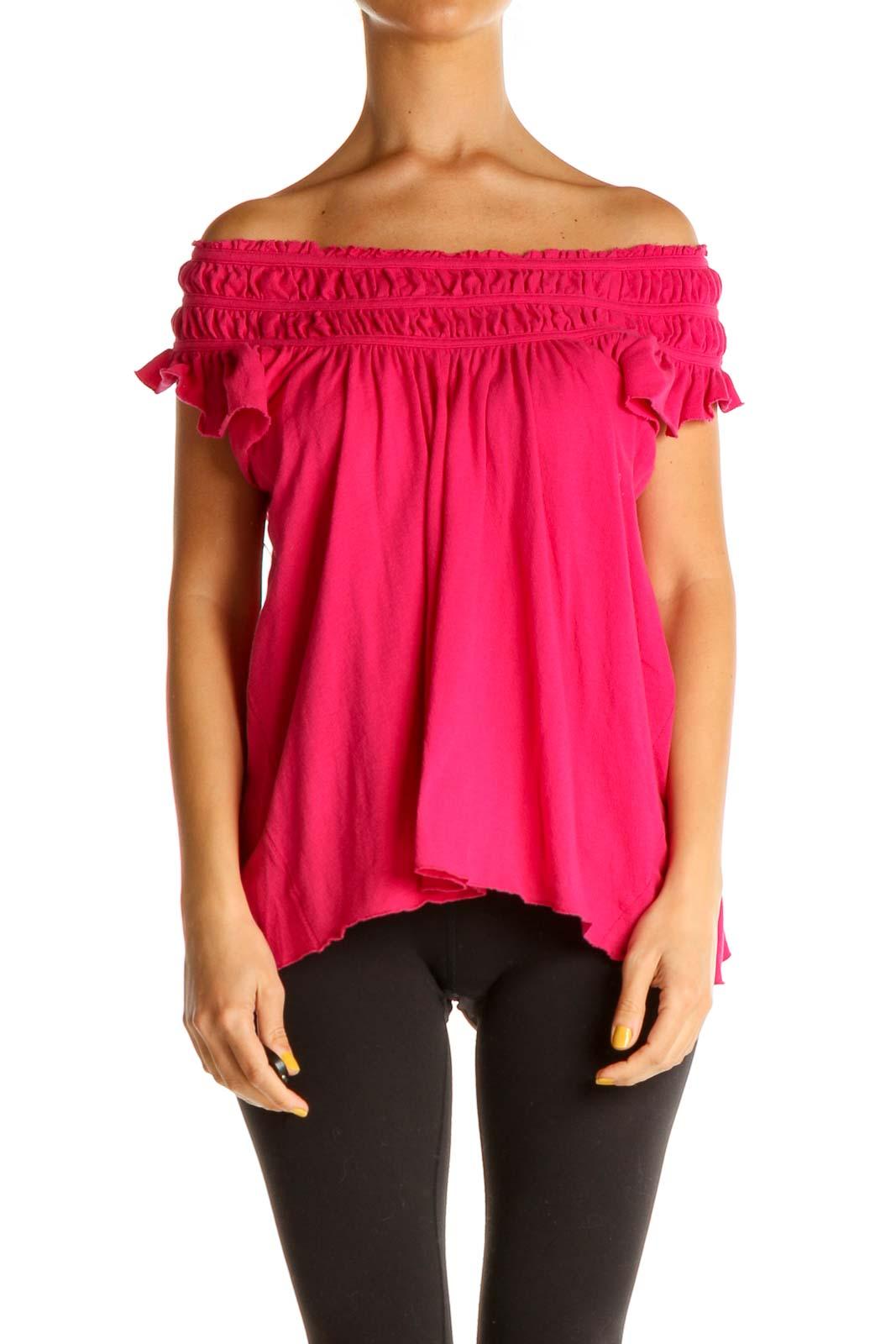 Pink Solid Brunch Blouse Front