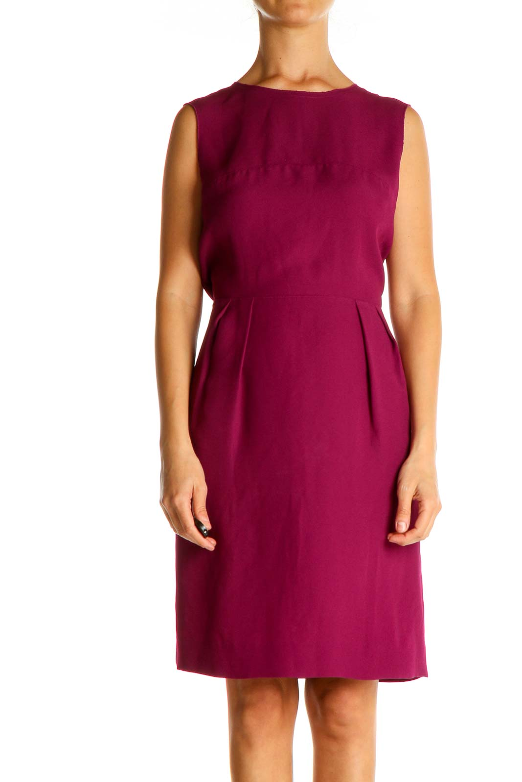 Pink Solid Work Sheath Dress Front