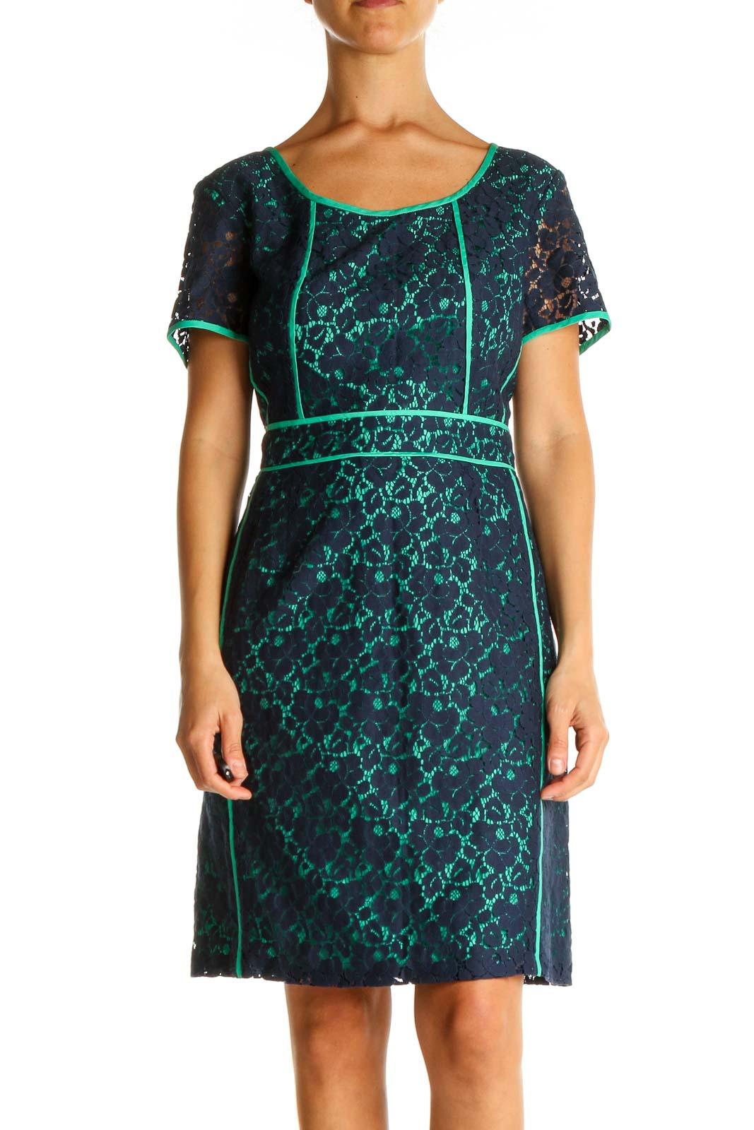 Blue Lace Print Day Sheath Dress Front
