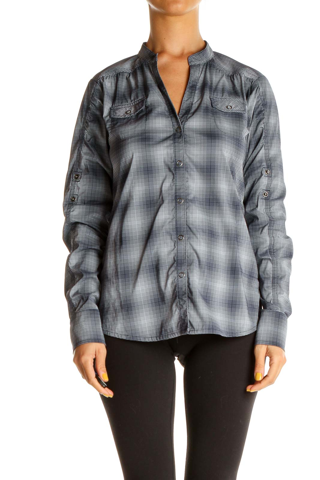 Gray Plaid All Day Wear Shirt Front