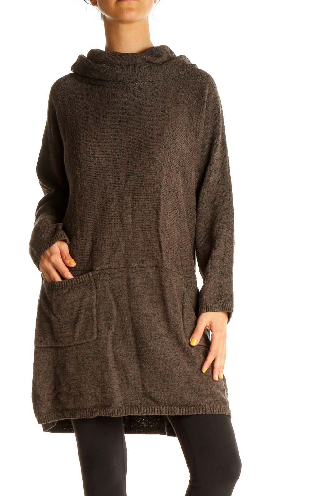 Brown Textured Long Classic Sweater Front