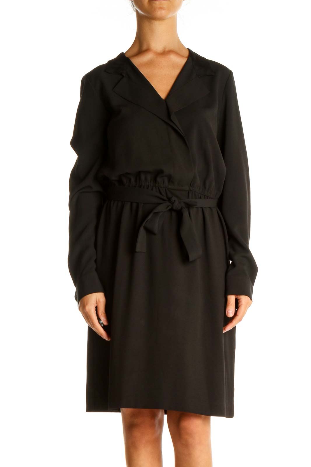 Black Solid Work Fit & Flare Dress Front