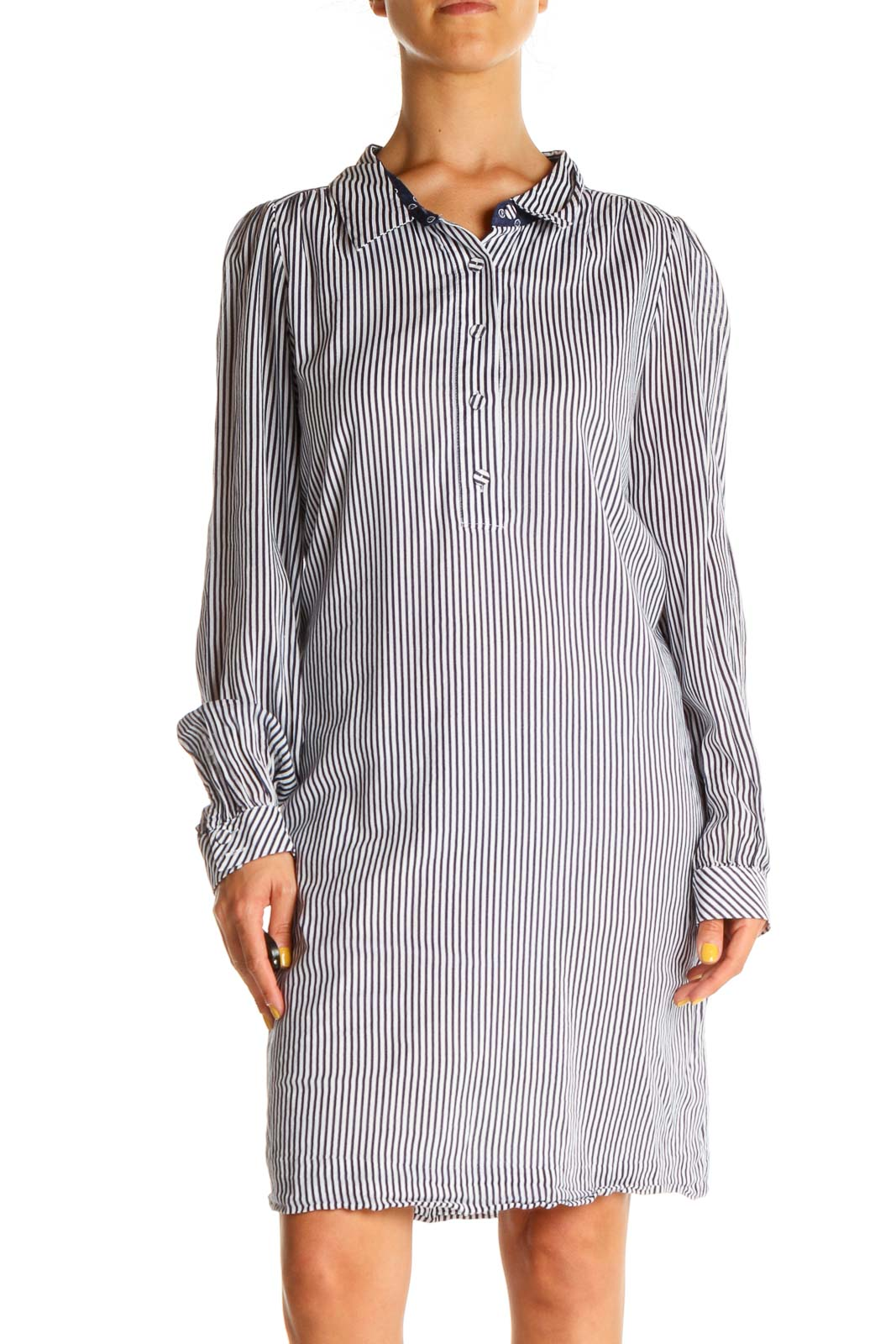 White Blue Striped Day Shirt Dress Front