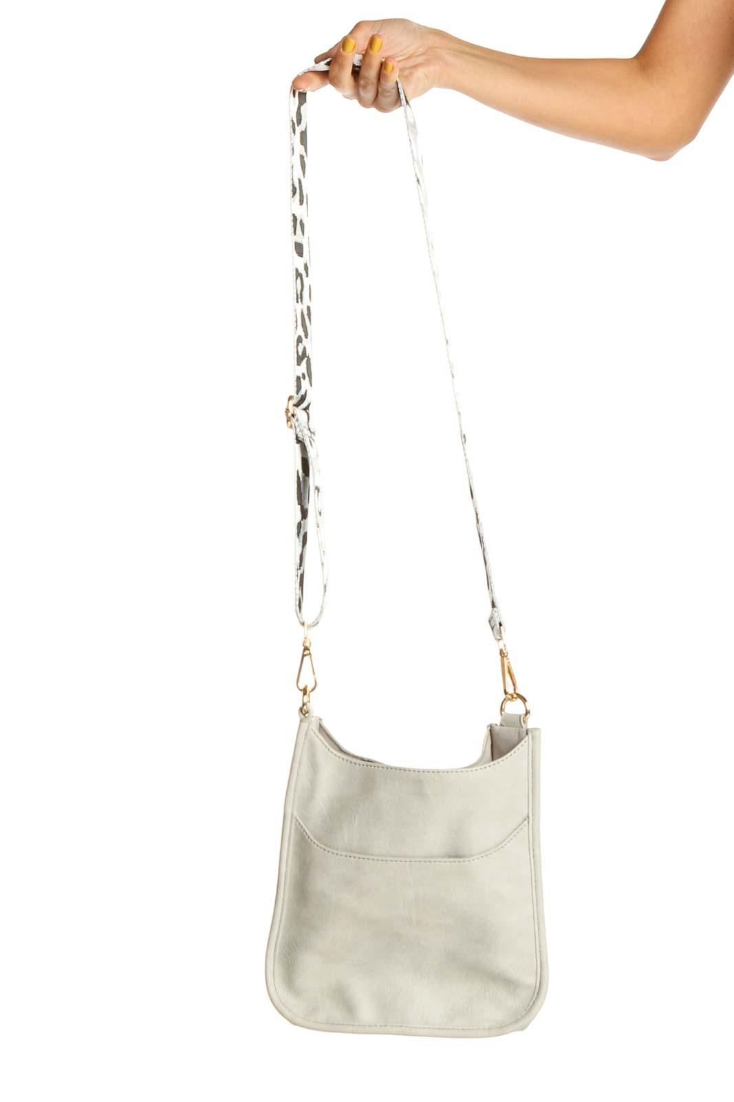 Gray Shoulder Bag with Animal Print Strap Front