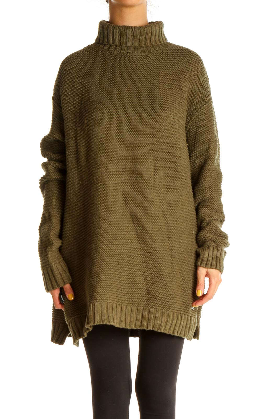Brown Textured Classic Sweater Front