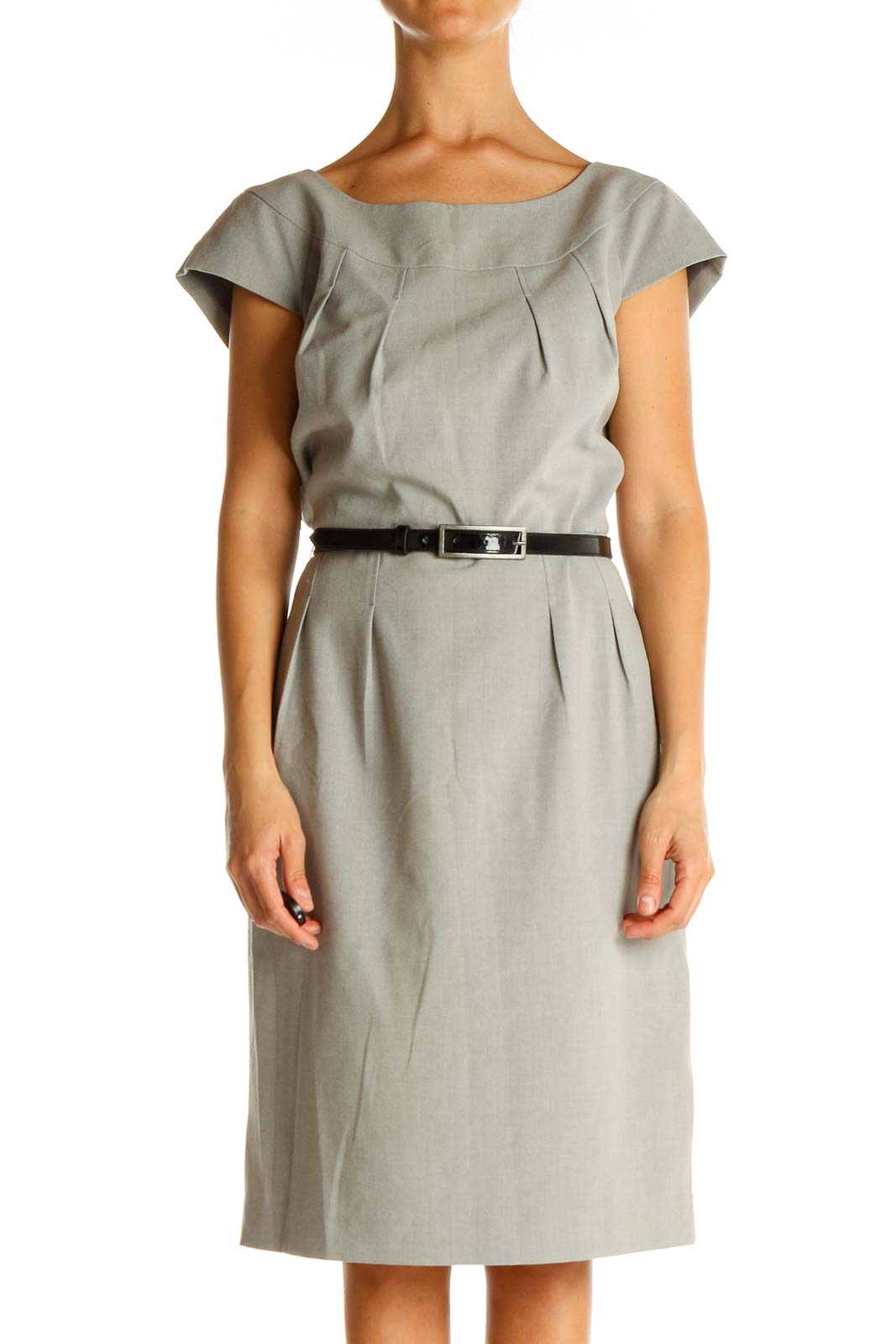 Gray Solid Work Shift Dress Front