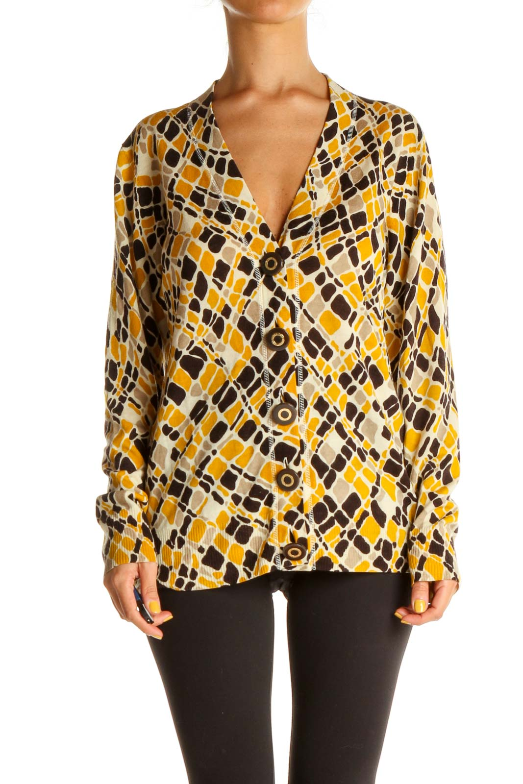 Yellow Geometric Print All Day Wear Blouse Front