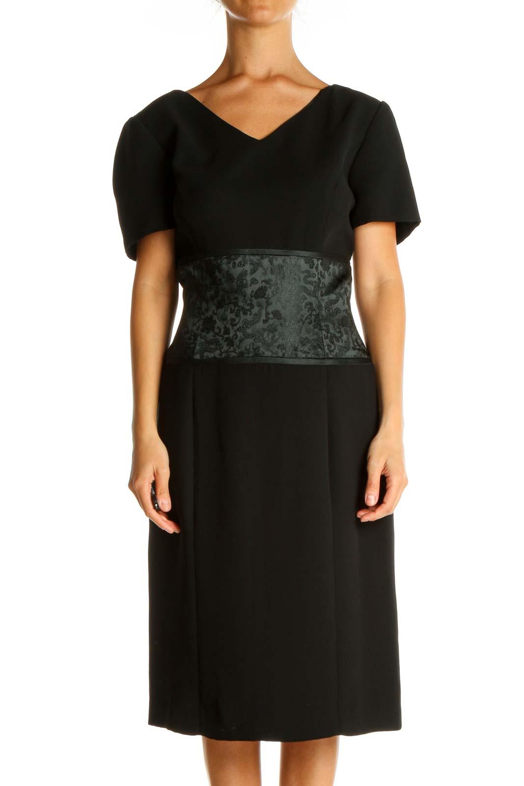 Black Solid Retro Sheath Dress Front