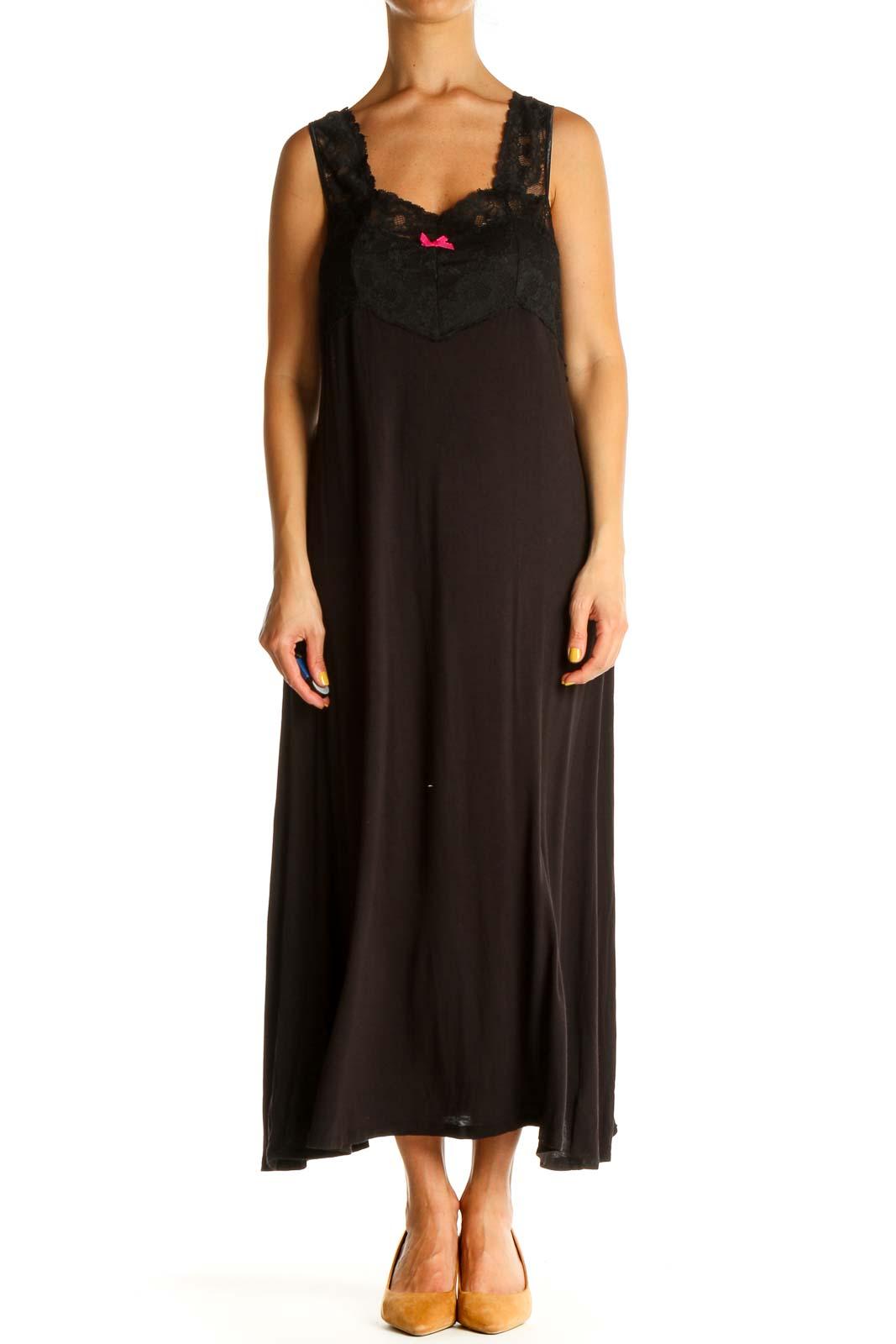 Black Solid Column Dress Front