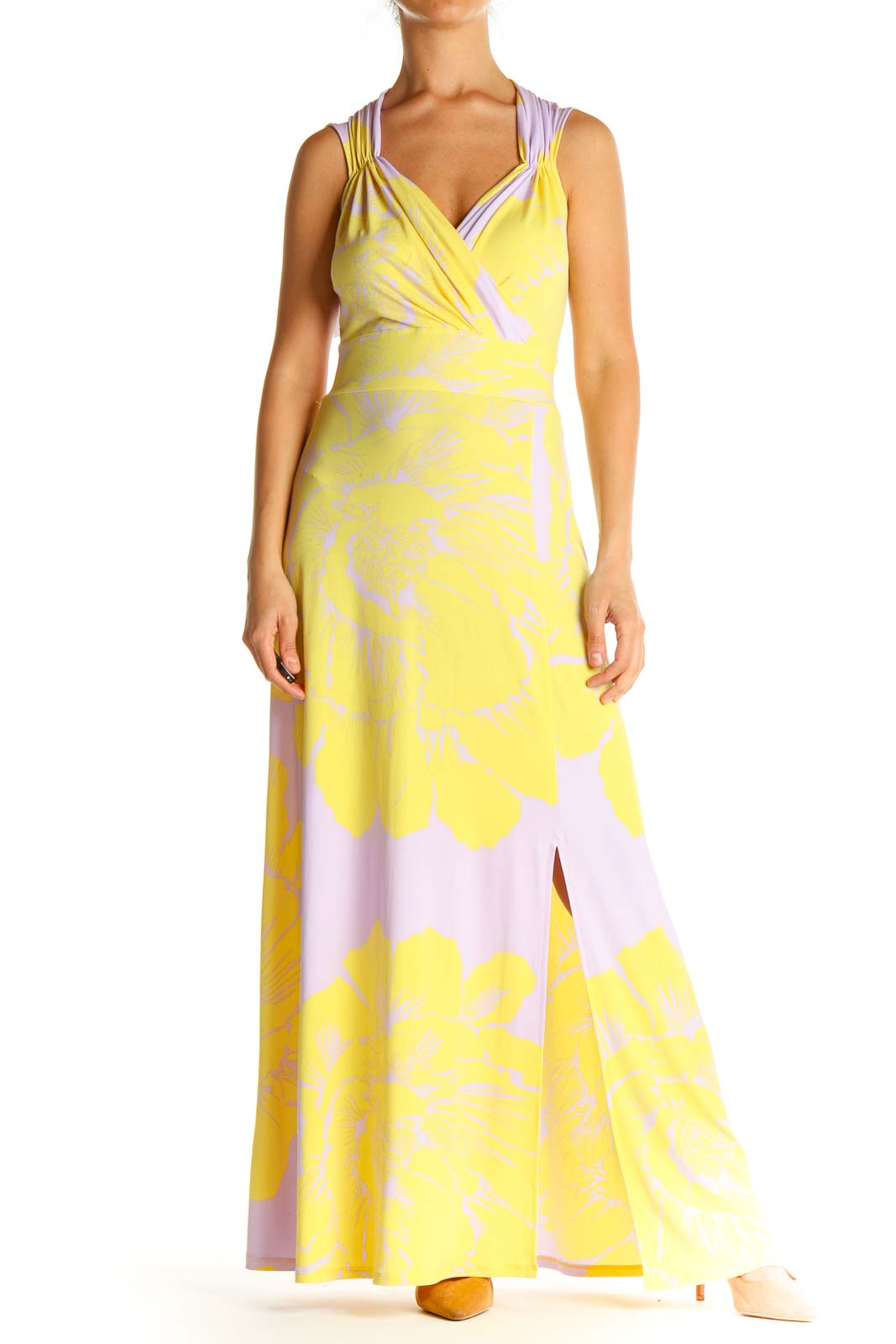 Yellow Tropical Print Day Column Dress Front