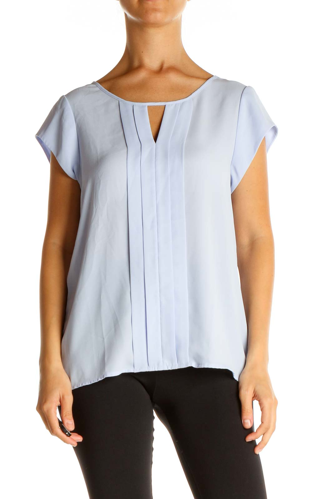 Blue Solid Classic Blouse Front